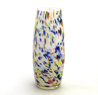 Antique Art Glass : Art Deco cased glass splatter Vase C.20thC