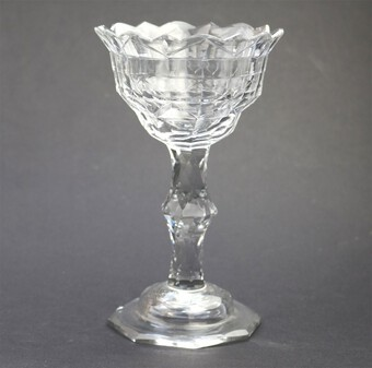 A very fine large antique Georgian facet cut stem Sweetmeat Glass C.18thC