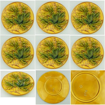 An attractive set of 6X antique Majolica pottery Cabbage Ware Dessert Plates C.19thC