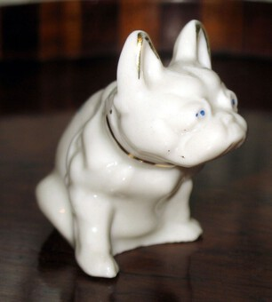 Antique A scarce Carlton novelty Crested model of a French Bulldog Glasgow C.19thC/early 20thC
