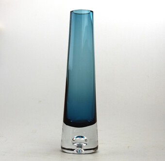 Attractive vintage Retro art glass teardrop Vase probably Scandinavian C.20thC