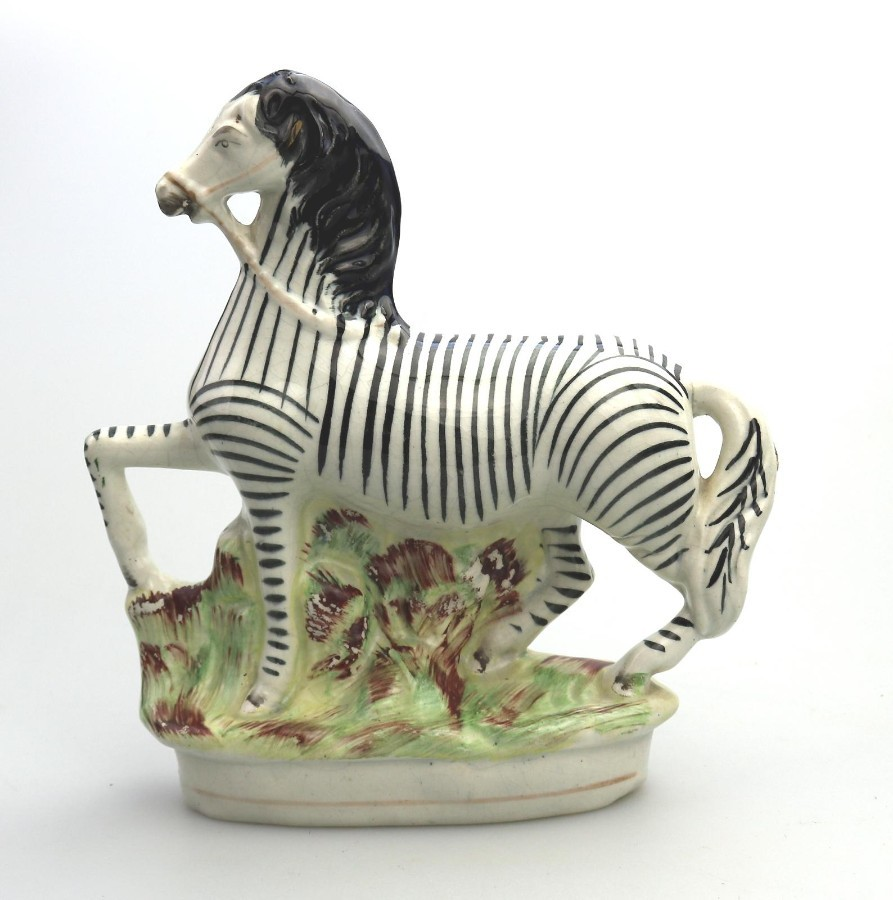 Antique English Pottery a good Victorian Staffordshire Zebra Figure C.1850