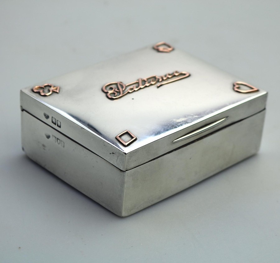 Antique Solid Silver & Gold Playing Card Patience Box C.1906