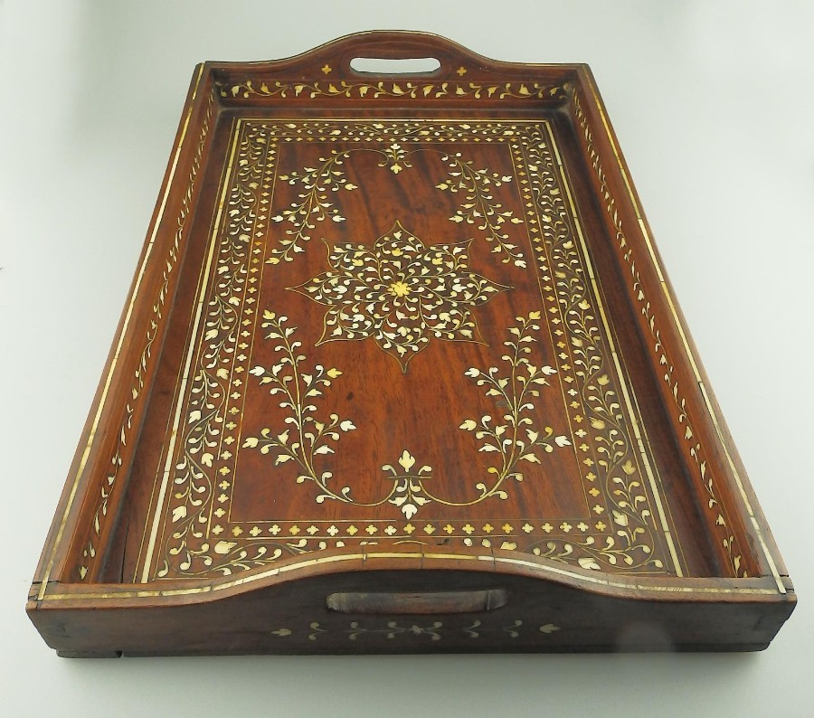Antique Indian Raj Treen a superior ivory inlaid Serving Tray C.19thC