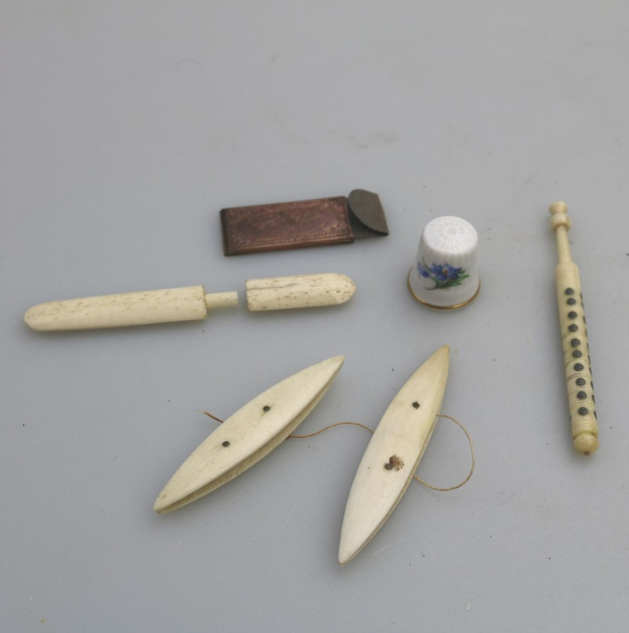 Antique Antique Sewing : Lot Sewing Items Spinner etc… C.19thC