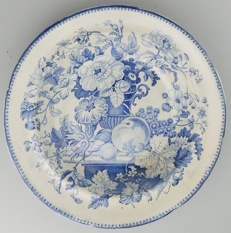 Antique English Pottery Blue and white Transferware Stew Plate c. Early 19thC