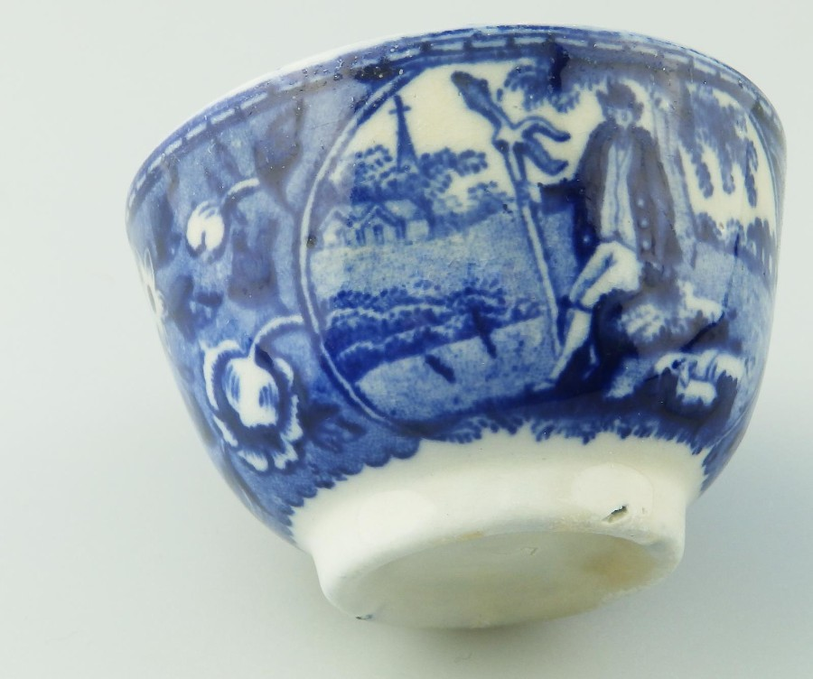 Antique Staffordshire Antique English Pottery : Scarce B&W Transferware Tea Bowl C.1820
