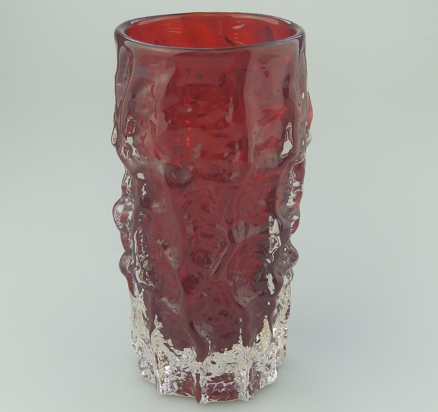 Whitefriars Ruby Red ' Bark Texture' glass Vase - Geoffrey Baxter C.1950-60's