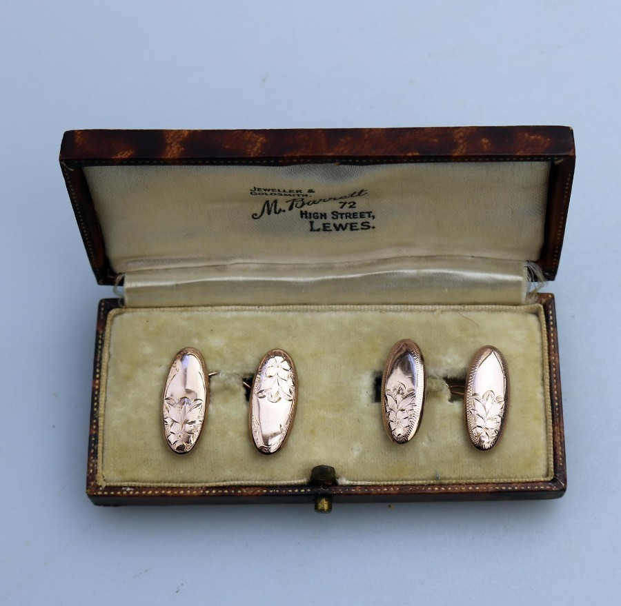 Antique Jewellery A boxed pair of 9ct gold engraved Cuff Links C.1916