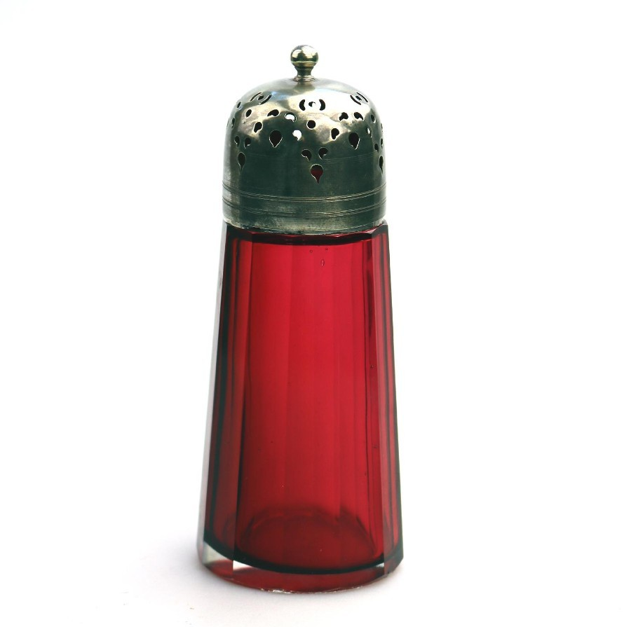 Antique Coloured Glass Cranberry Muffineer / Sugar Shaker / Caster 2 C.19thC