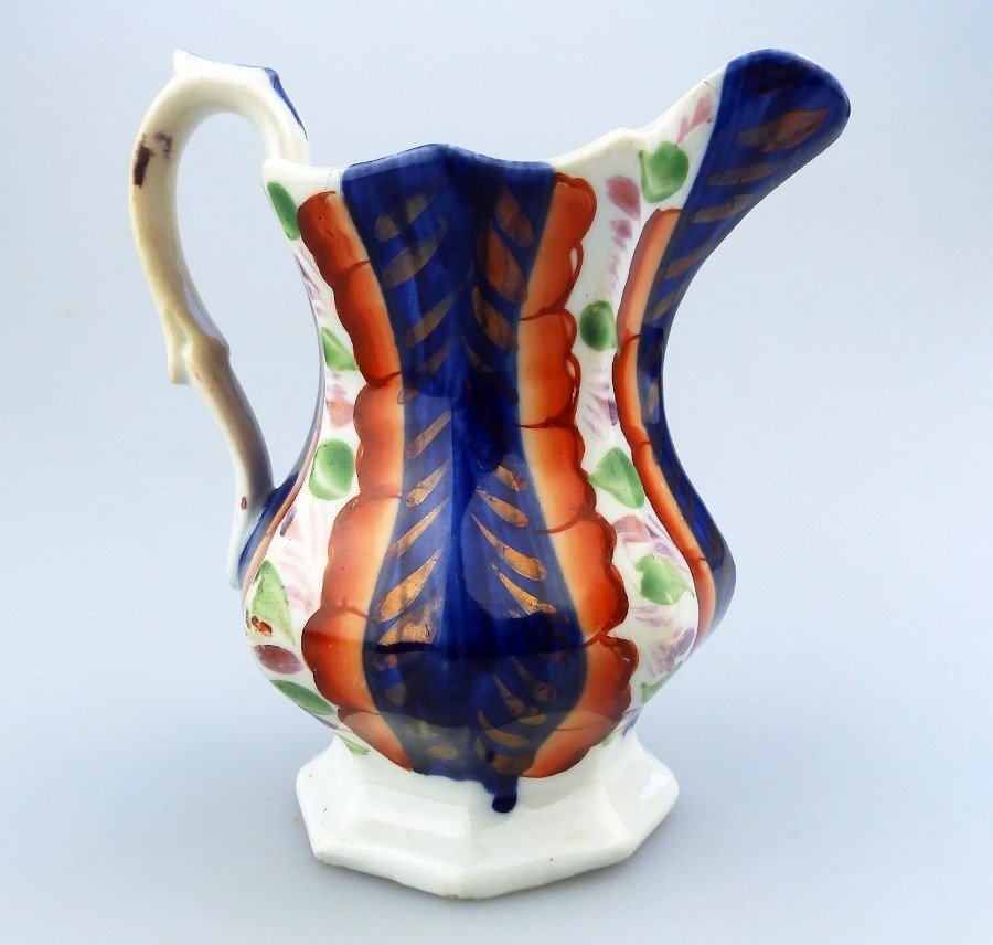 Gaudy Welsh Antique English Pottery an unusual lustre ware Jug  C.19thC