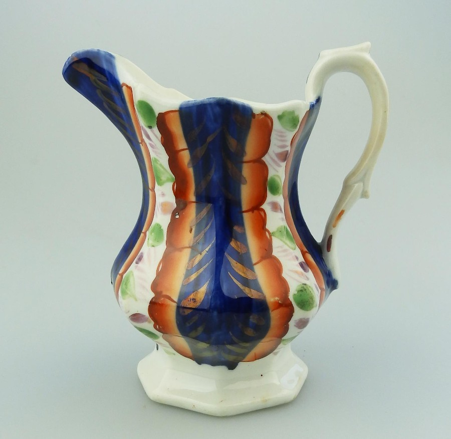 Antique Gaudy Welsh Antique English Pottery an unusual lustre ware Jug  C.19thC