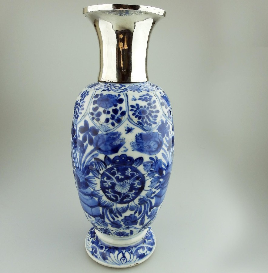 Ancient Antique Oriental Porcelain extremely fine B&W hand painted Chinese Vase C.late 17th/early...
