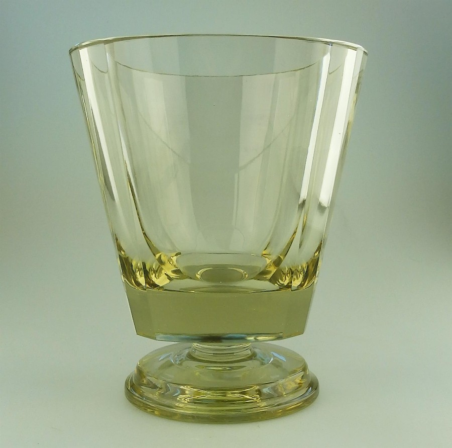 Scandinavian Art Glass : Art Deco Fine Quality EDA very heavy citrine Goblet Vase C.1931