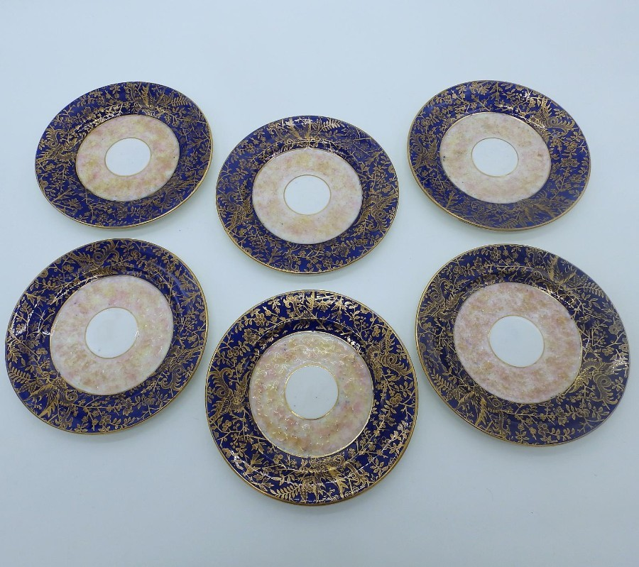 Antique Continental Porcelain set of 6X unusual & fine Tea Plates  C.19thC