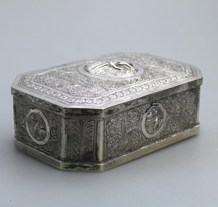 Antique Silver Plate Raj Repousse Trinket Box C.1920's