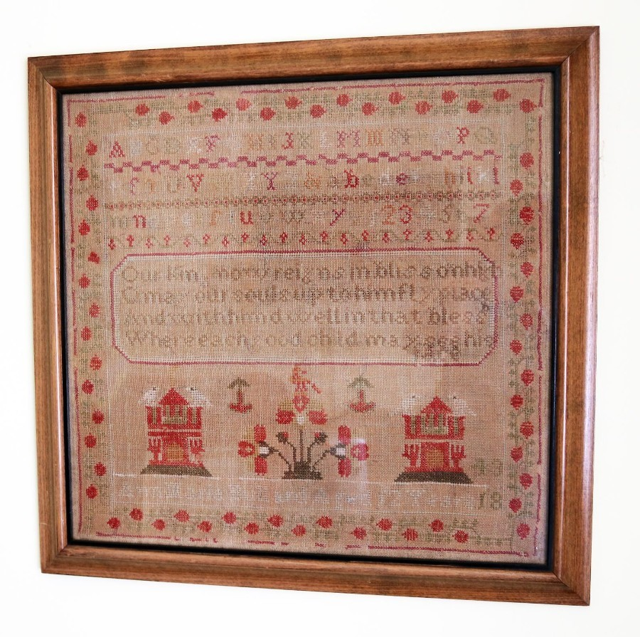 Antique Textiles A Victorian embroidery House & Dove Sampler C.1843