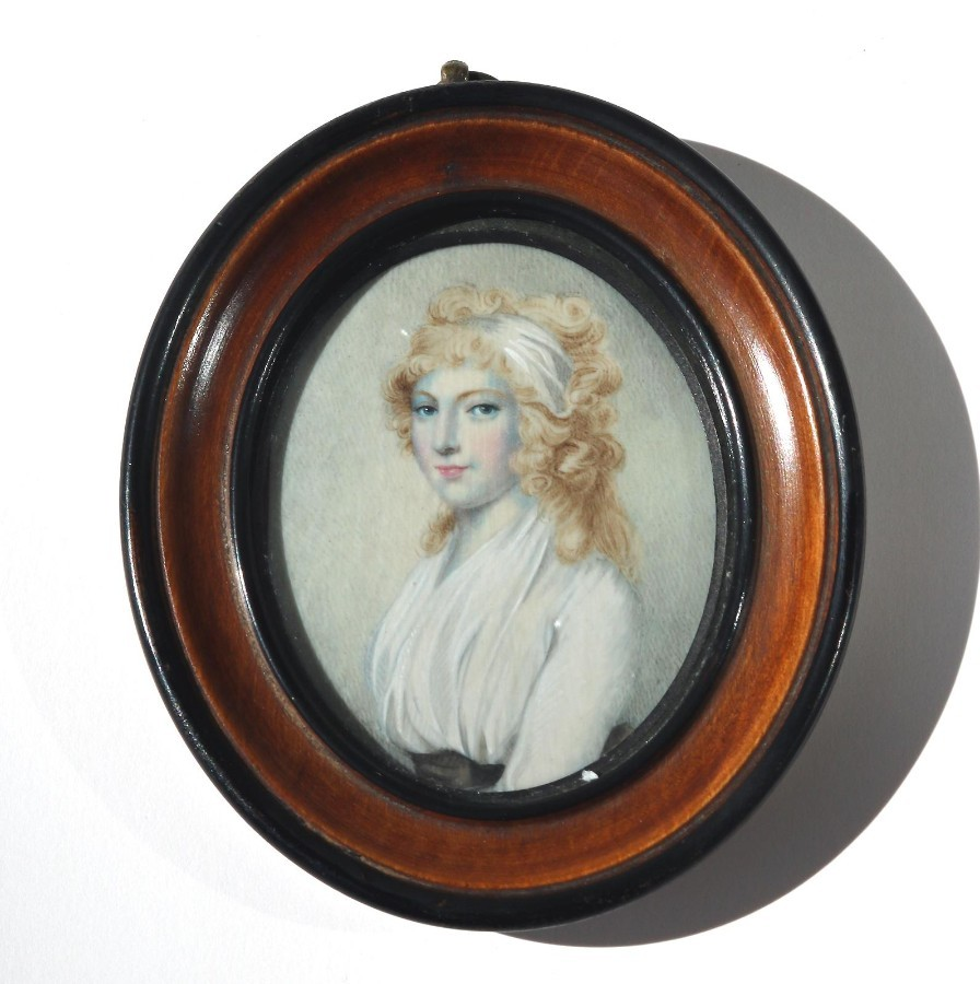Antique Portrait Miniatures : A good painting on ivory after Cosway C.early 19thC