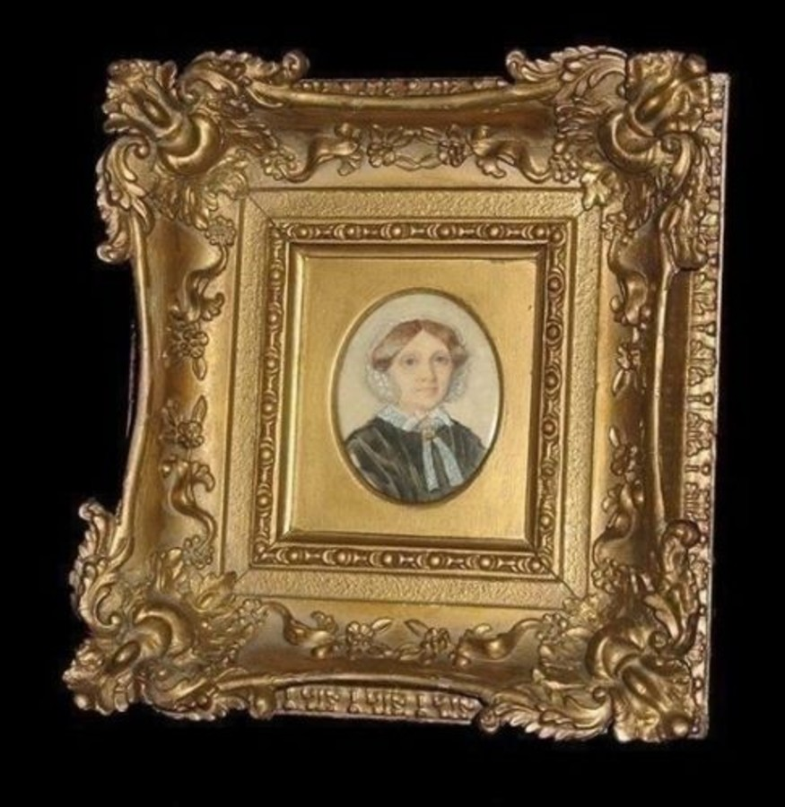 Antique Female Portrait Miniature on ivory, English School gesso frame C.19thC