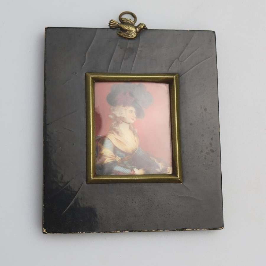 Antique Portrait Miniature on ivory of Mrs Siddons After Gainsborough C.19thC