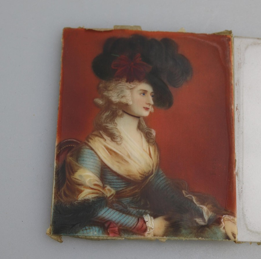 Antique Antique Portrait Miniature on ivory of Mrs Siddons After Gainsborough C.19thC