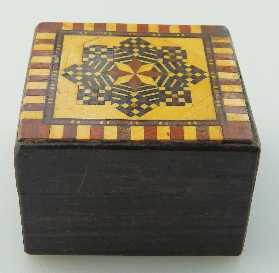 Antique Treen a superior Tunbridge Ware rosewood Thomas Barton Stamp Box C. 1870