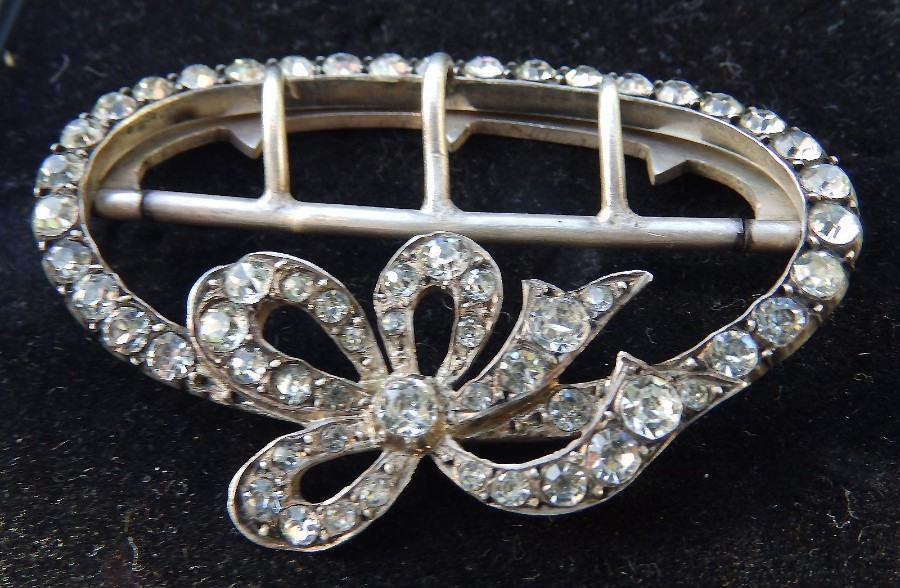 Antique Antique tested solid silver Jewellery a large diamante rhinestone Buckle C.1900-1920