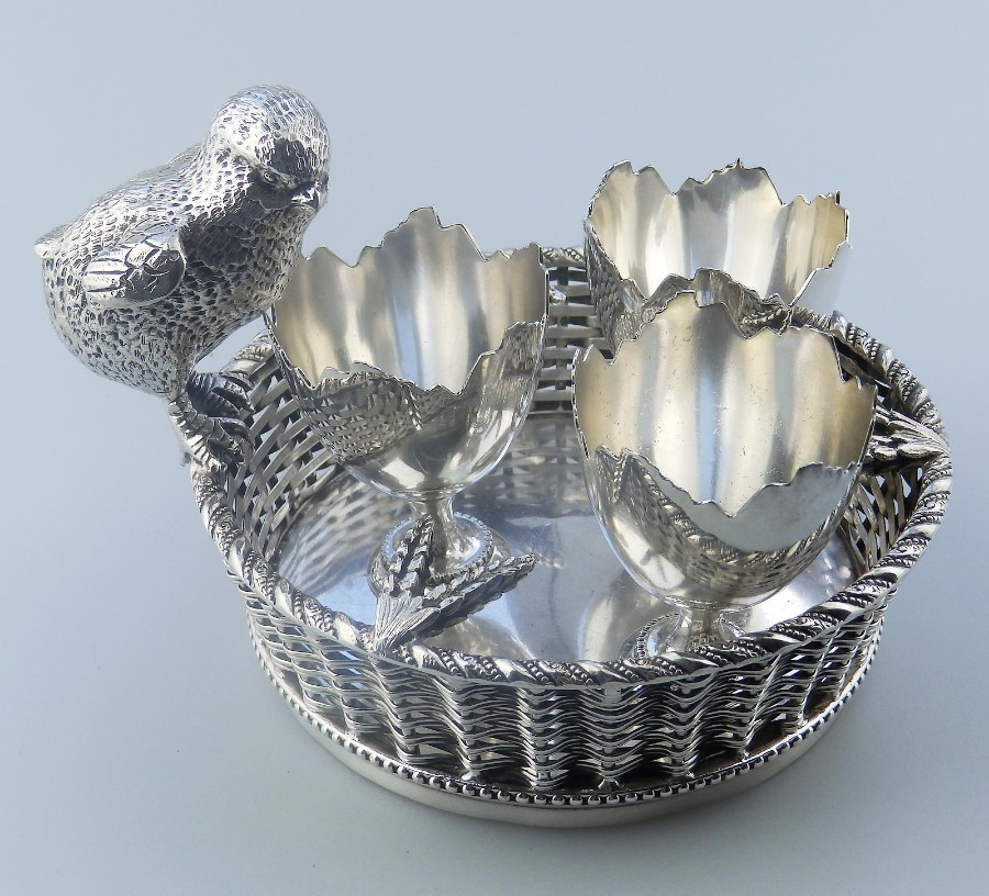 Antique Mappin & Webb Silver Plate extremely rare novelty Chick Egg Stand C.1920