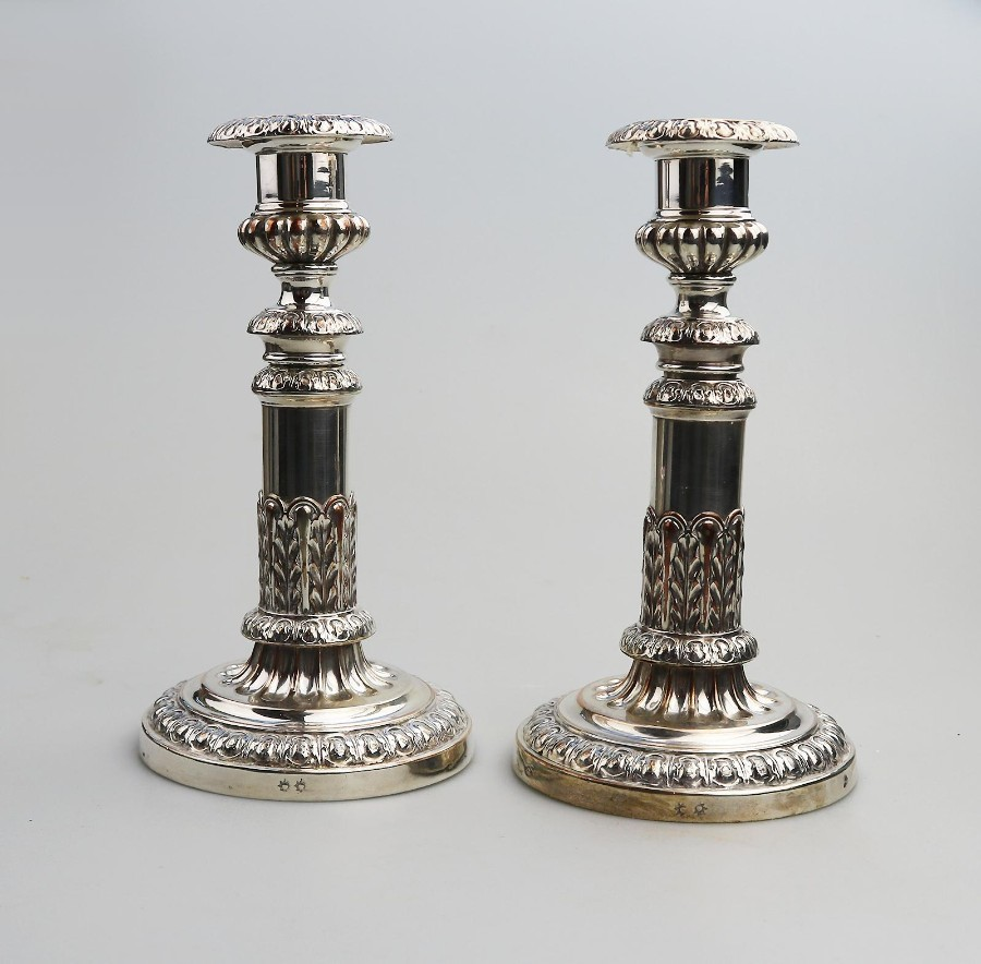Antique Silver Plate Superior Old Sheffield Candlesticks Mathew Boulton C.1800