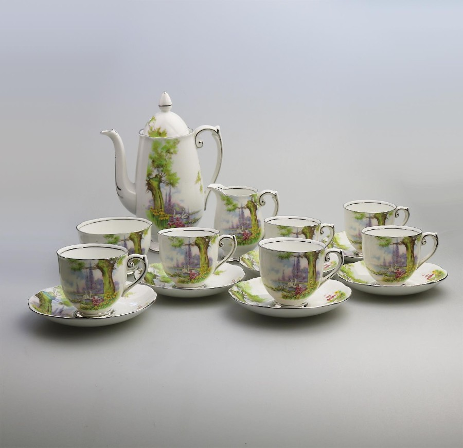 Antique English Porcelain Roslyn China Peacehaven Swan Lake Coffee Set C.1930's