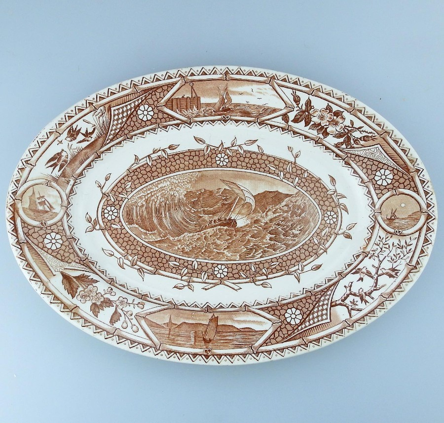Antique English Pottery Aesthetic Turner Transferware Meat plate c. 1870-80's