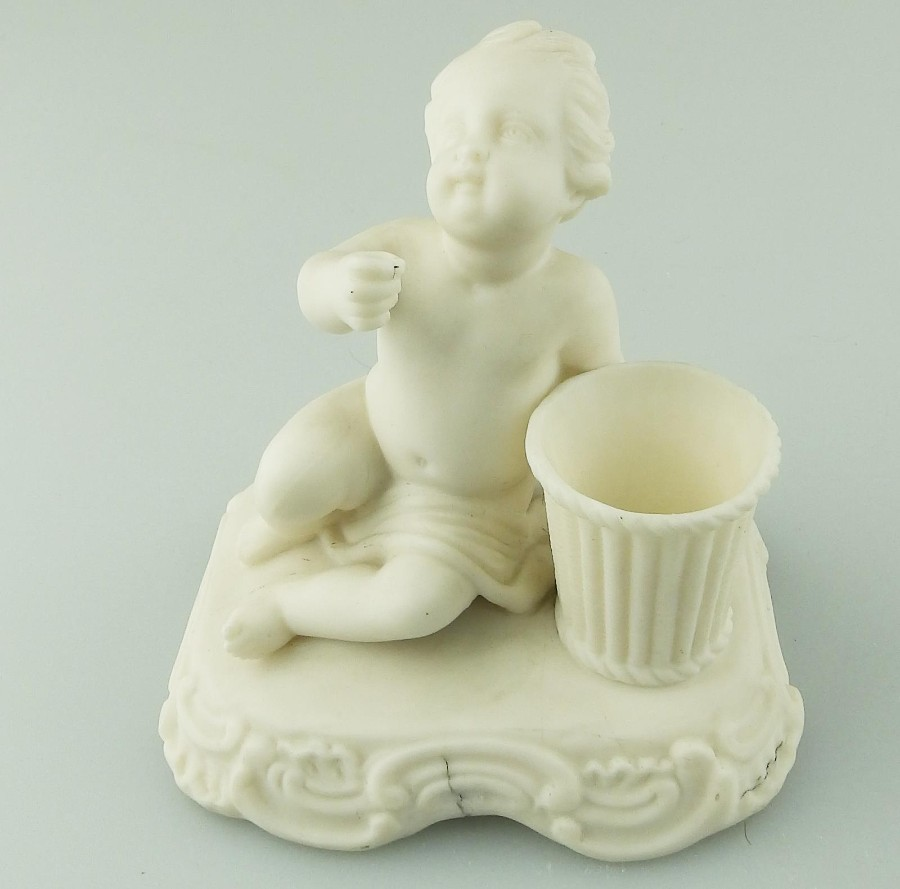 Antique Parian Porcelain a Minton Cherub Striker Vase C.Mid 19thC