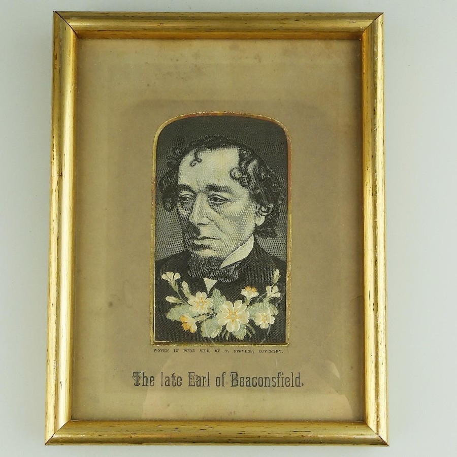 Antique Textile Embroidery Stevengraph type Earl of Beaconfield Political silk Picture C.19thC
