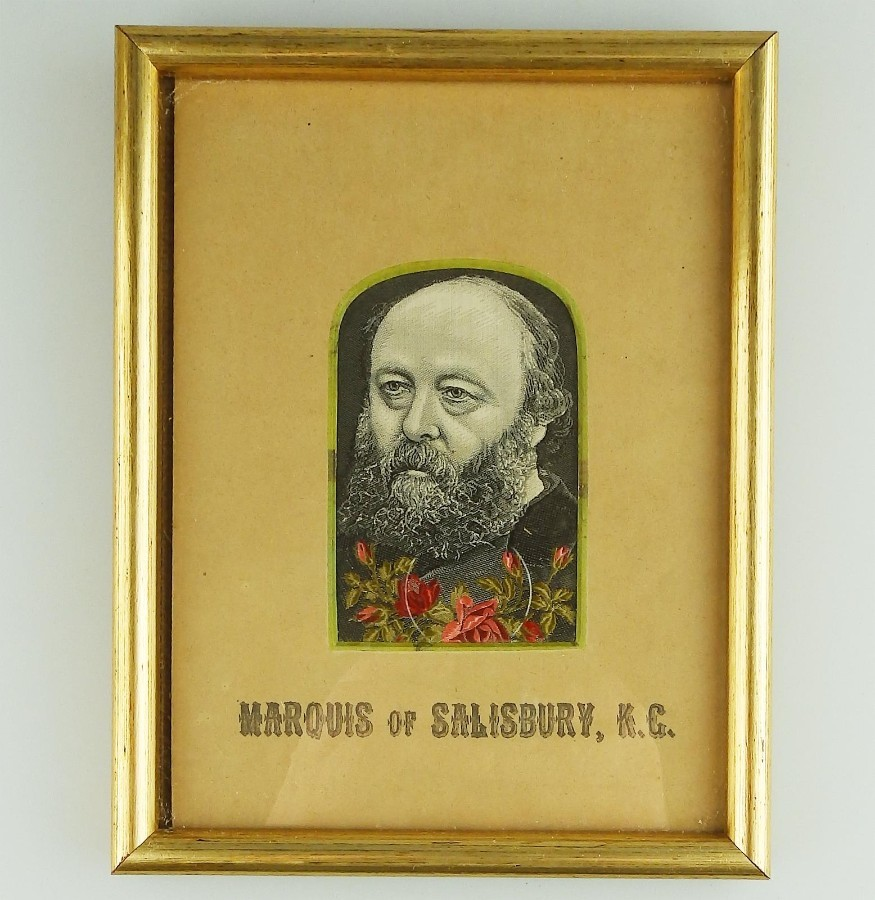 Antique Textile Embroidery Stevengraph type Marquis of Salisbury Political silk Picture C.19thC