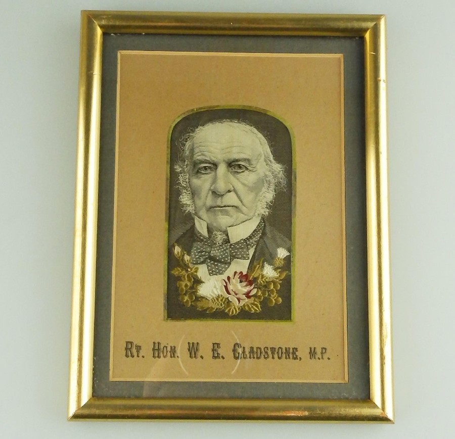 Antique Textile Embroidery Stevengraph type Hon Gladstone Political silk Picture C.19thC