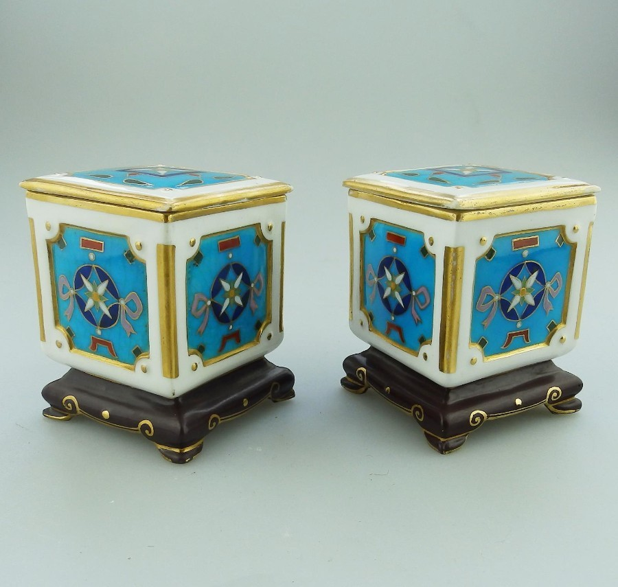 Antique Minton Art Porcelain: an extremely rare pair of miniature Boxes by Christopher Dresser 19...