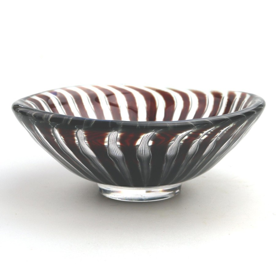 Contemporary Scandinavian Art Glass Orrefors Ariel Bowl Edvin Ohrstrom C.1952