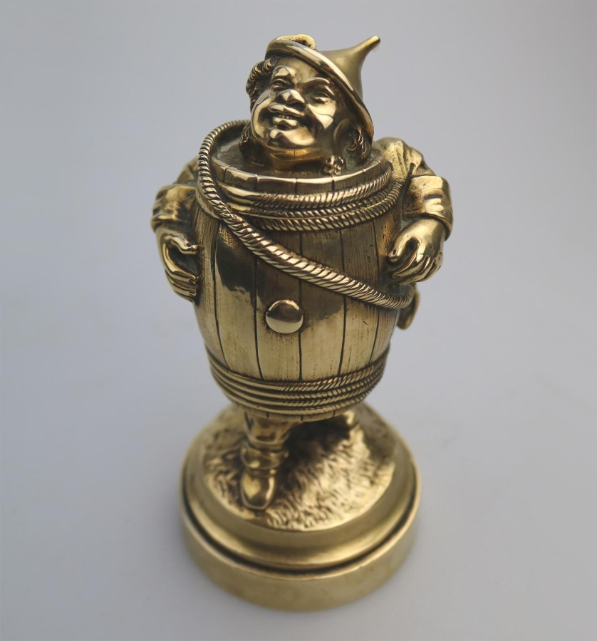 Antique Metalware : Brass novelty Wizard of Oz Tin Man Inkwell C.1900