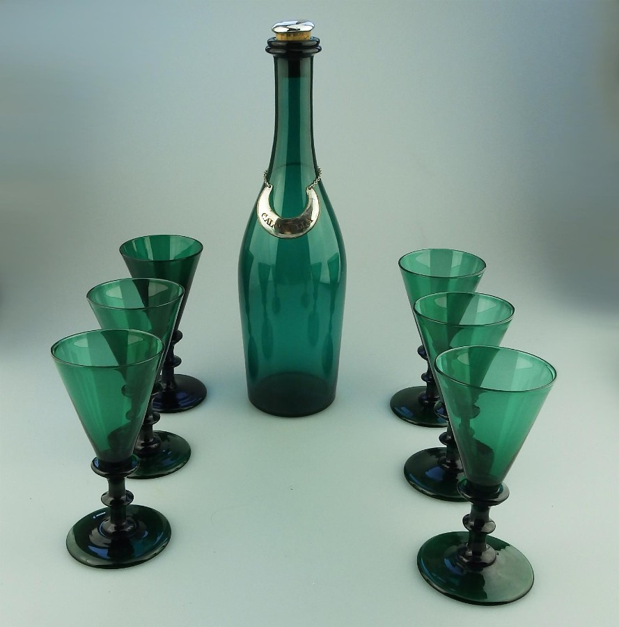 Antique English coloured Glass rare Bristol Green Calcavella Drinking Set C.19th