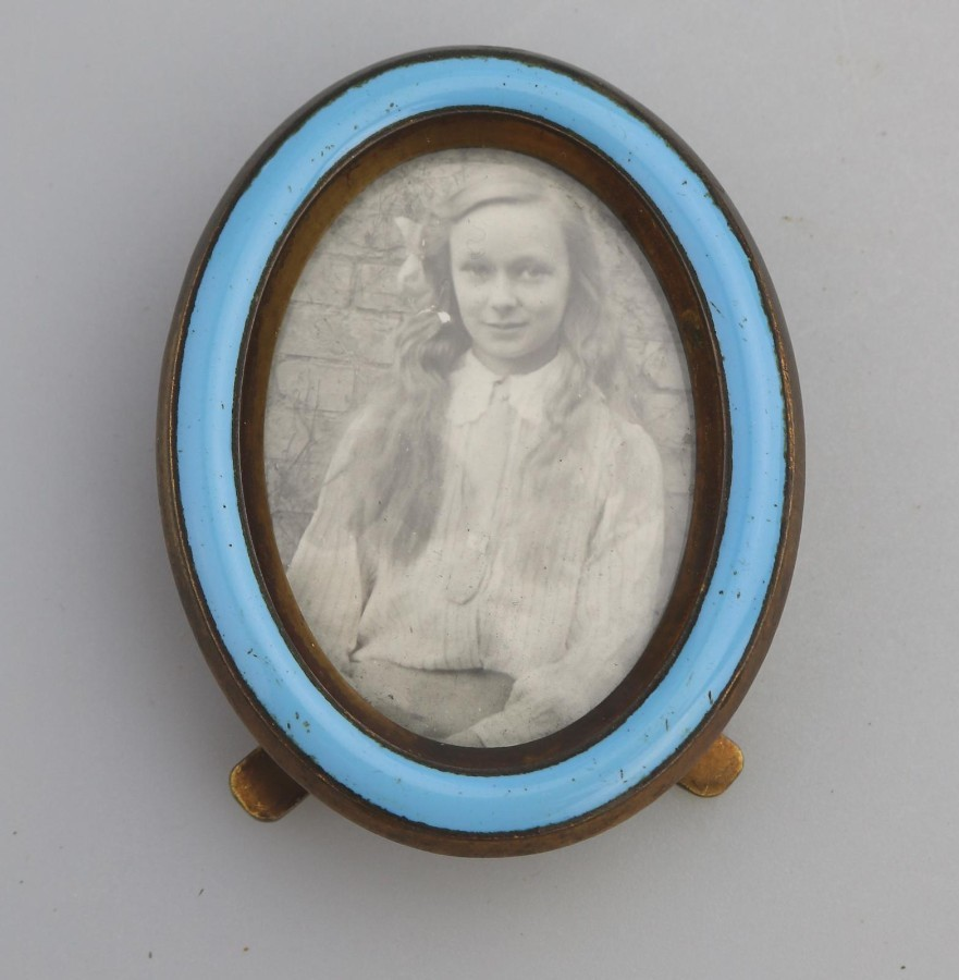 Antique Metalware a good quality enamel Miniature Picture Frame C.19thC