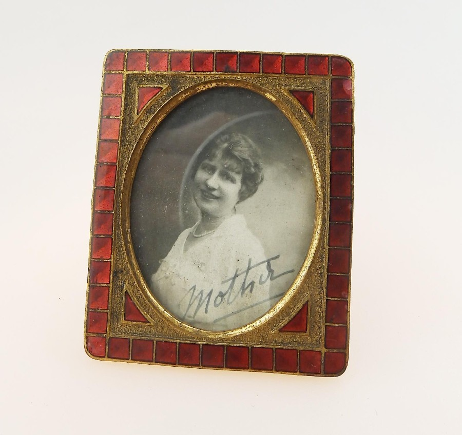 Antique Metalware a good enamel Miniature Picture Frame C.19thC