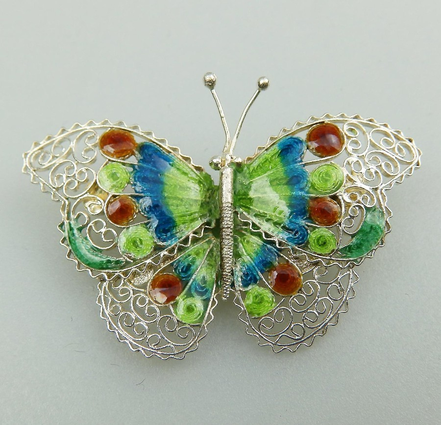 Antique Jewellery large fine sterling silver & enamel Butterfly Brooch - Boxed