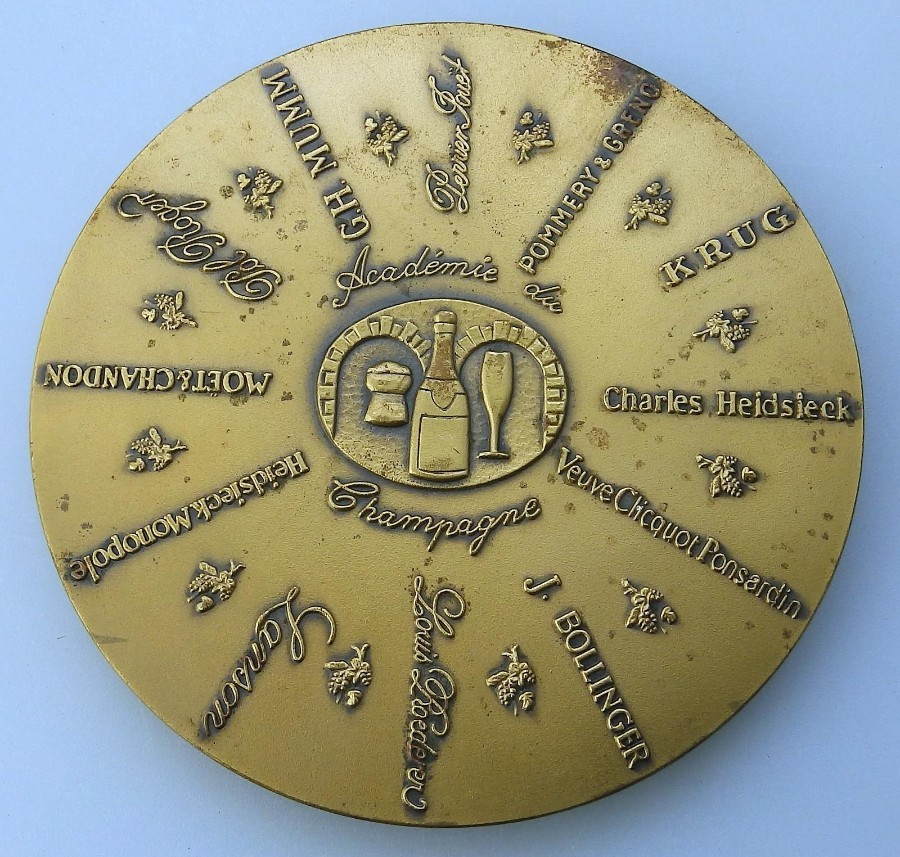 Vintage Advertising Collectibles a Champagne Bronze Commemorative Disc