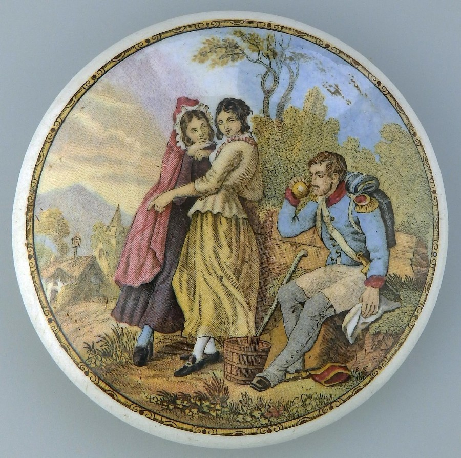 Prattware Antique English Pottery : A Pot Lid The Thirsty Soldier C.19thC