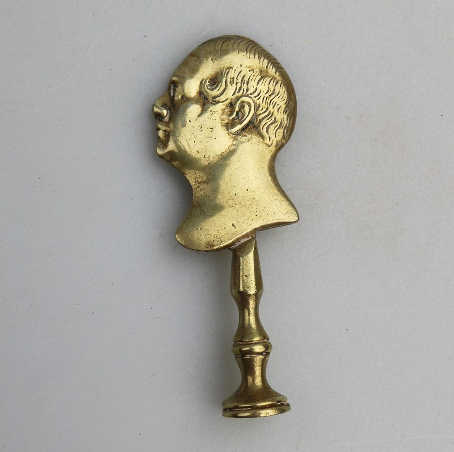 Antique Smoking Accessories Portrait Pipe Tamper C.19thC