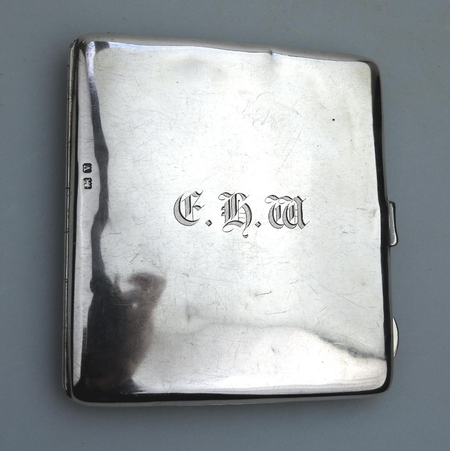 Antique Solid Silver large fitted Case Wallet C.early 20thC