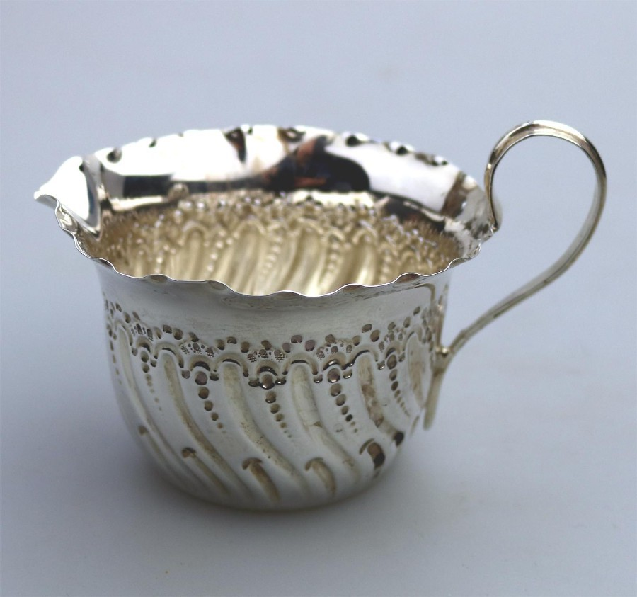 Antique Solid Silver Victorian embossed Jug C.1887