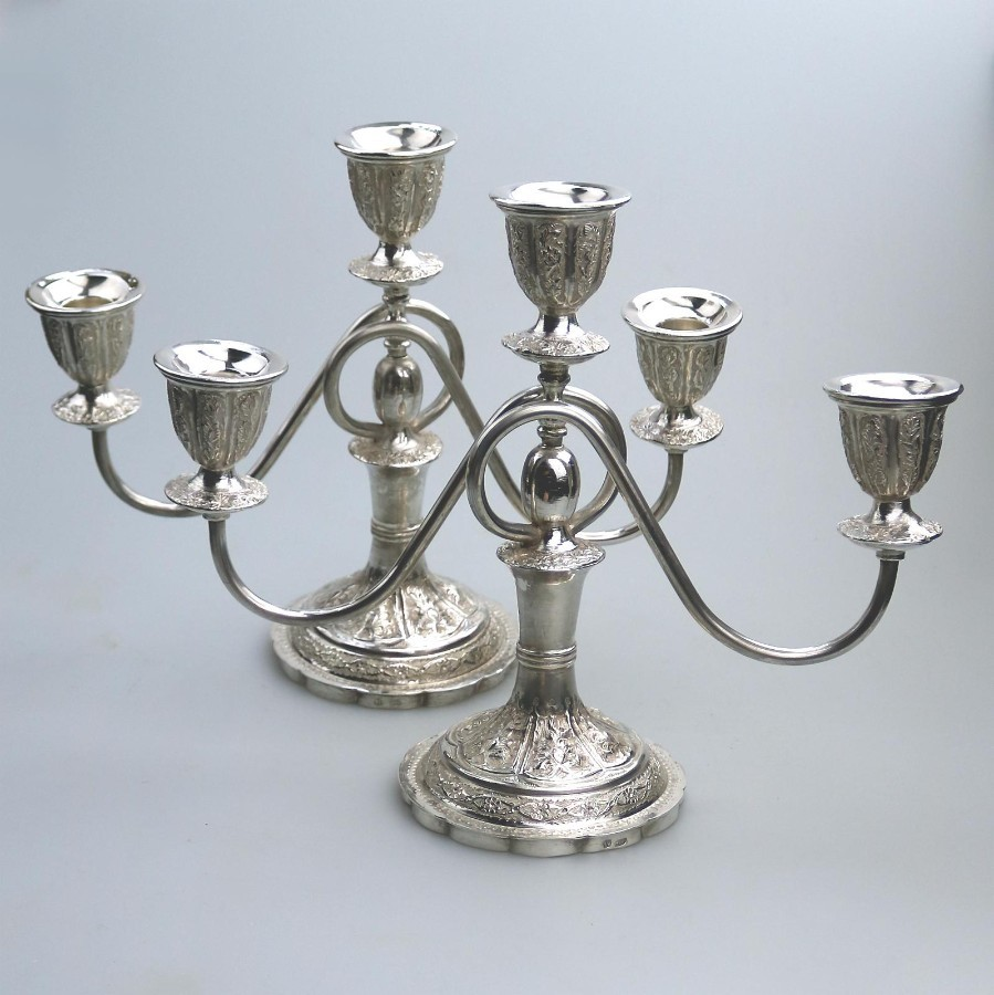 Vintage Solid Silver A good pair of triple Persian? Eastern Candelabras C.1950's-60's