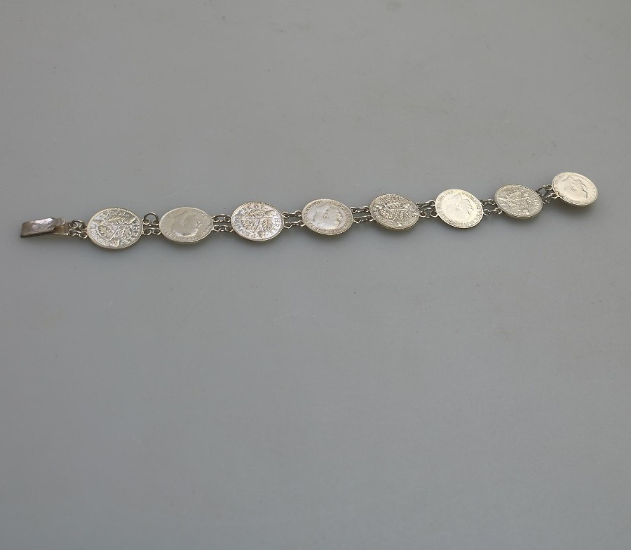 Antique Silver Three Pence Piece Coin Bracelet C.1920-1934