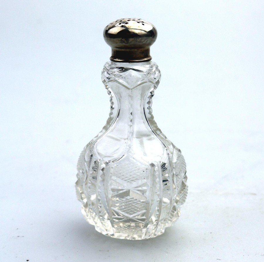 Antique Solid Silver & Cut Glass / Crystal Victorian Pepper Shaker C.1898